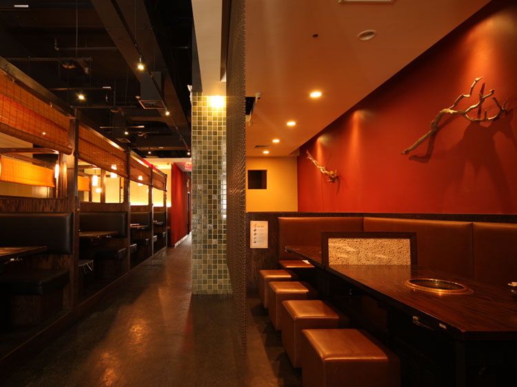 Gyu-Kaku White Plains BBQ tables with Japanese style cushions