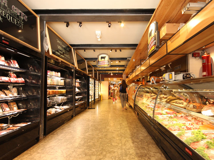 Prime Butcher Baker store kosher meat lined up in display fridge